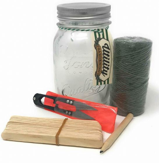 Temerity Jones Mason Jar Potting Shed Set Incl String and 18 Wood Markers Garden